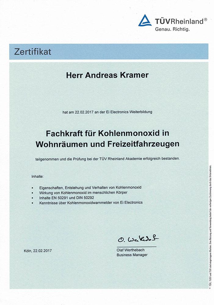 Zertifikat Fachkraft für Kohlenmonoxid