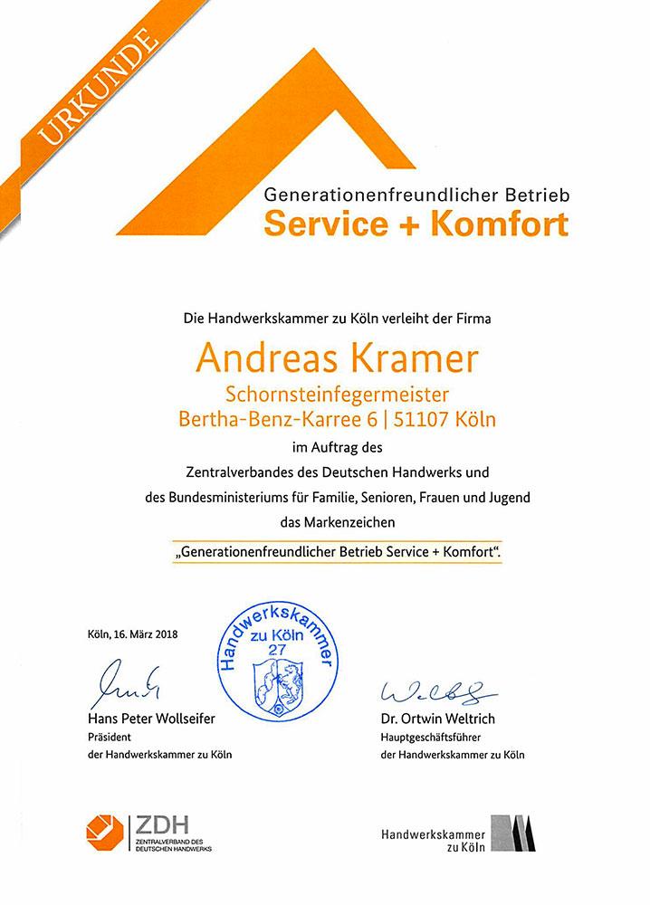 Urkunde Generationenfreundlicher Betrieb - Andreas Kramer